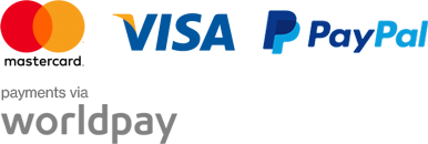 We accept Mastercard, Visa and PayPal payments