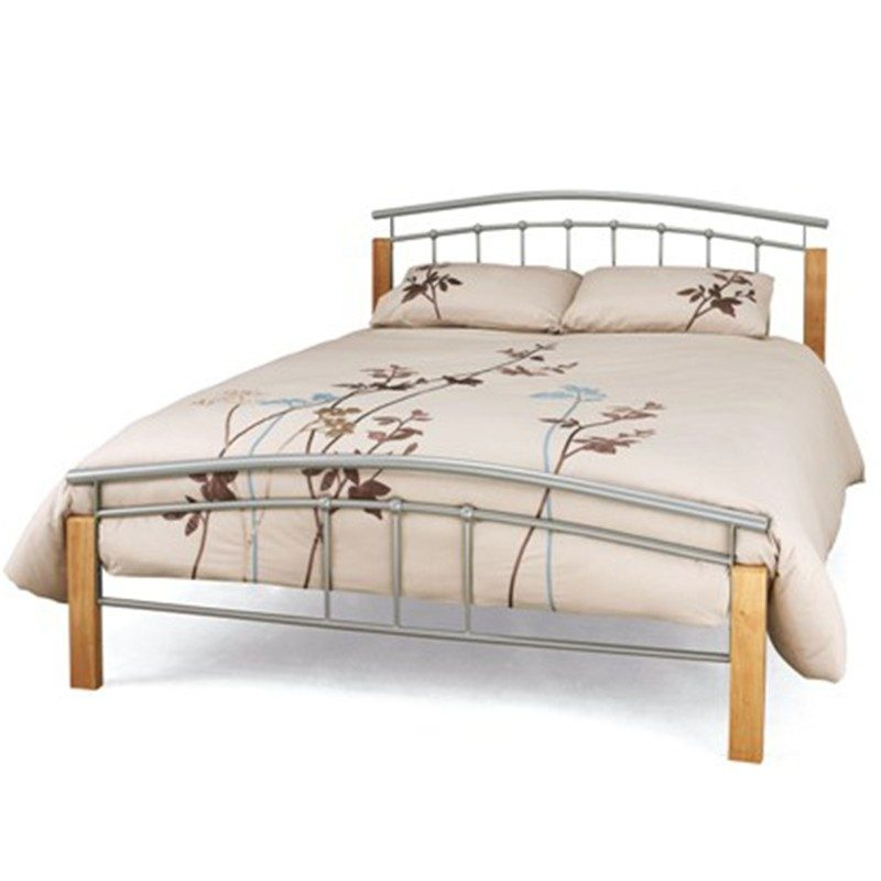 Silver and Pine Tetras Metal Bed Frame from Serene