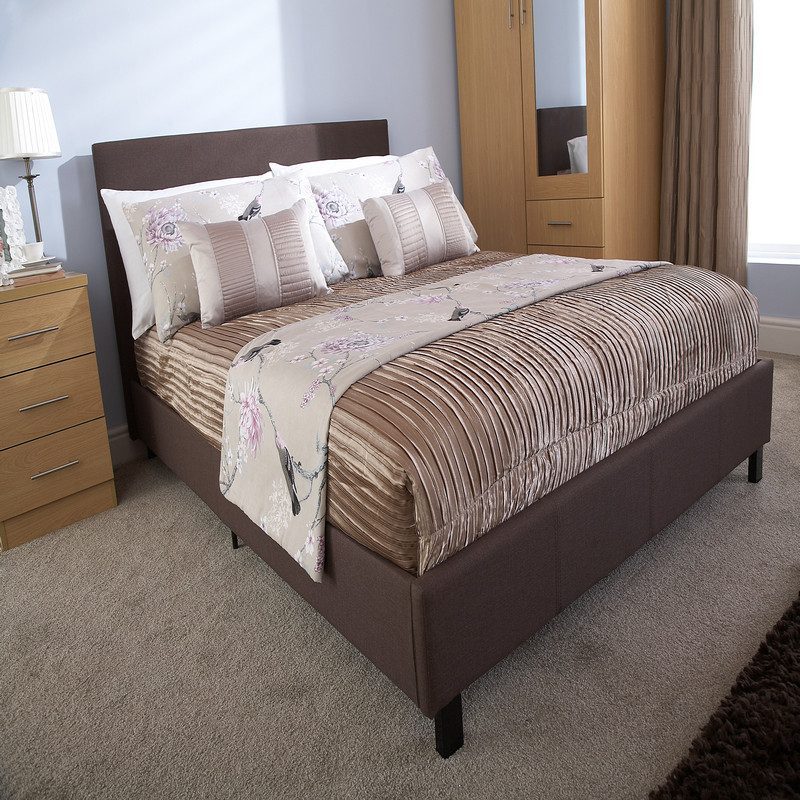 Bed in a Box Fabric Bedstead Brown | Affordable Beds