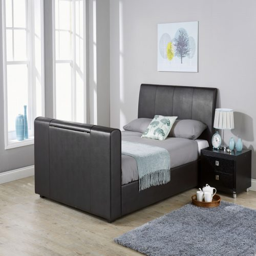 Brooklyn Pneumatic TV Bedstead Black | Modern Beds | Bishops Beds