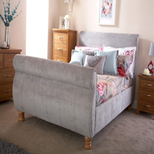 Chicago Silver Chenille Bed | Beds With Free Delivery