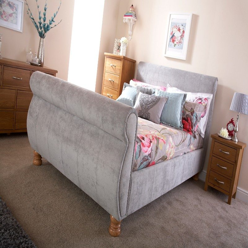 Chicago Silver Chenille Bed   Beds With Free Delivery