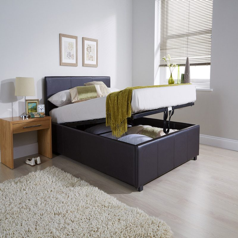 End Lift Ottoman Bed Brown | Storage Beds | Beds with Storage