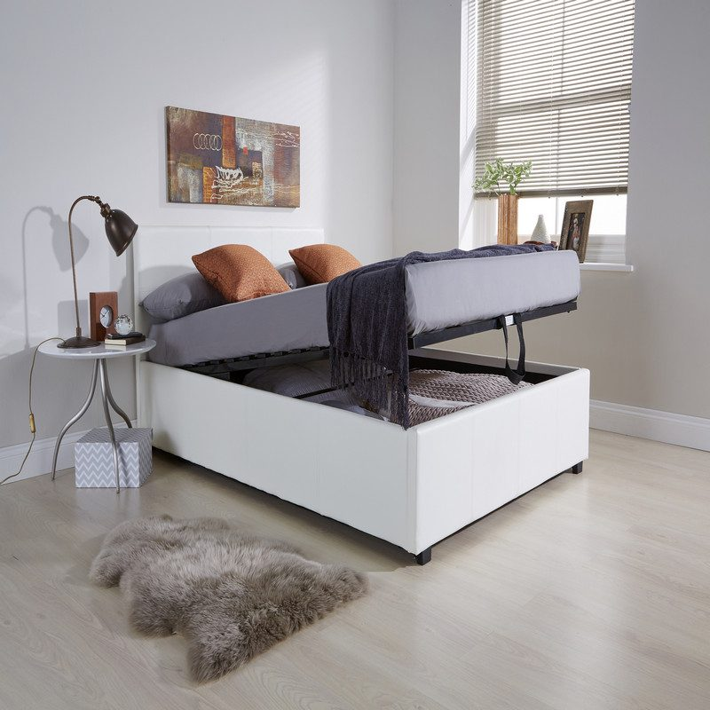 End Lift Ottoman Bed White | Storage Beds | Beds with Storage