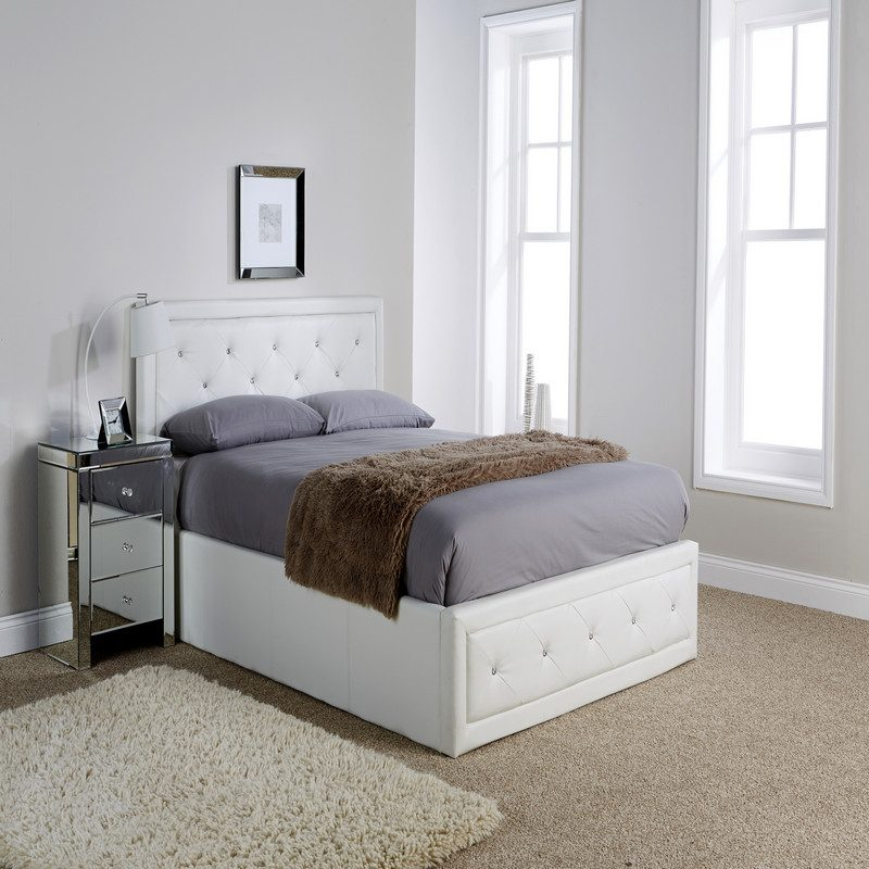 Hollywood White Ottoman Bed | Storage Bed | Bed with Storage