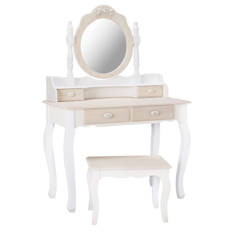 Juliette Soft White 2 Drawer Dressing Table, Mirror and Stool | Bishops Beds | Shabby Chic Bedroom Furniture