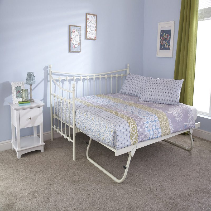Memphis Metal Day Bed White with Trundle Bed | Guest Beds
