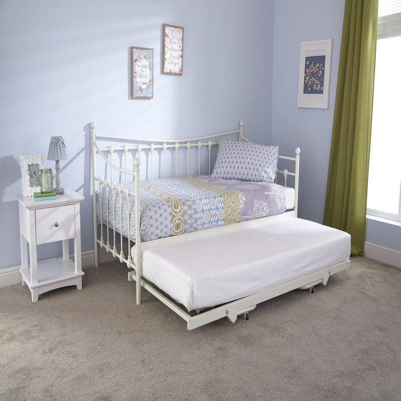 Memphis Metal Day Bed White Half Trundle | Guest Beds