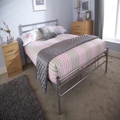Morgan Silver Metal Bedstead | Metal Bed Frame | Metal Beds