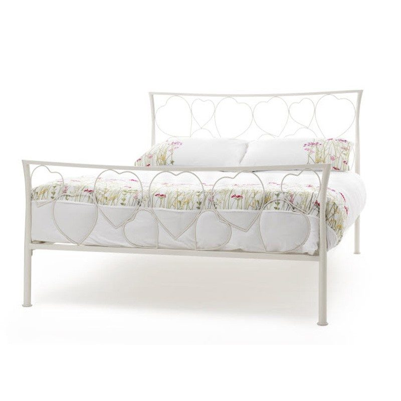 White Chloe Metal Bed Frame with Hearts