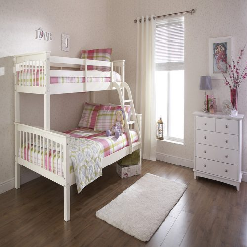 Novaro Trio Bunk Bed White | Kids Beds | High Sleeper