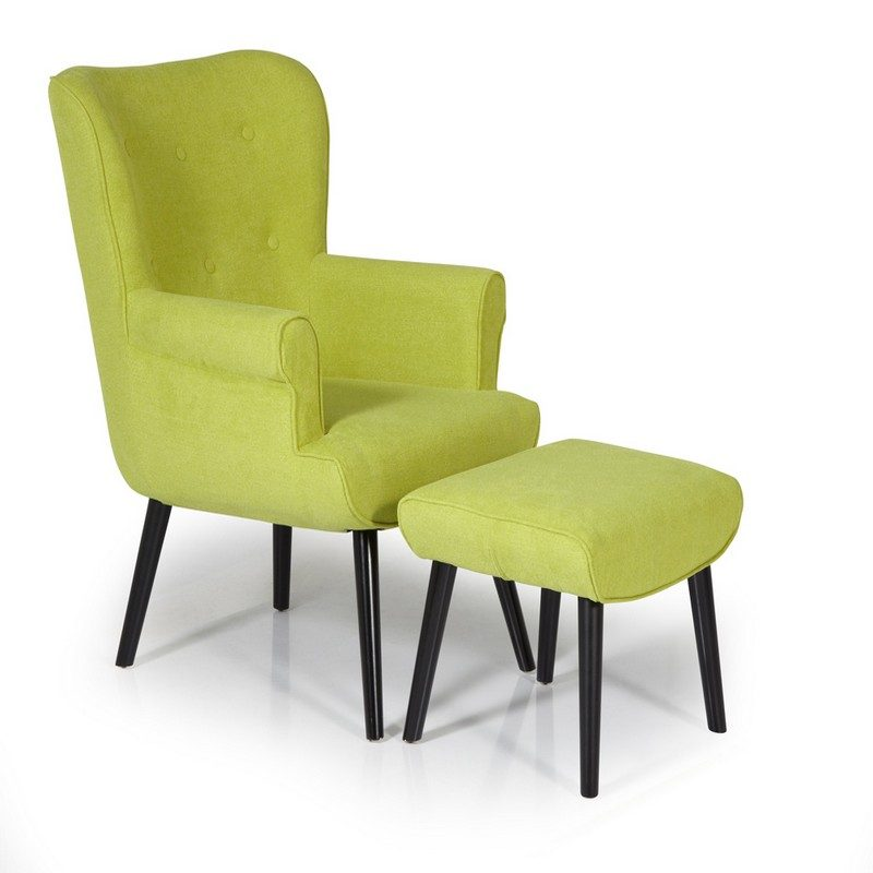 Oban Green Chair And Footstool   Occasional Chairs   Armchairs