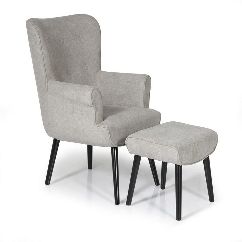 Oban Grey Chair And Footstool   Occasional Chairs   Armchairs