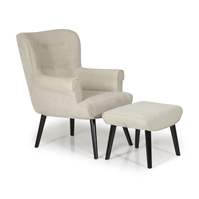 Oban Mink Chair And Footstool   Occasional Chairs   Armchairs
