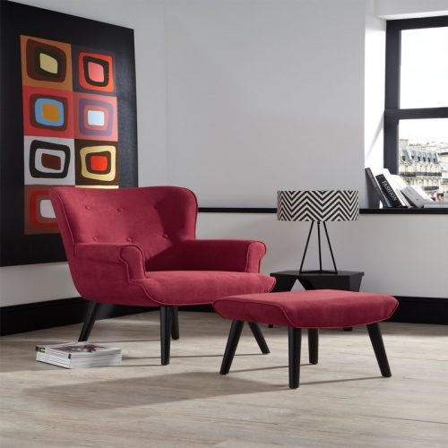 Oban Red Chair And Footstool | Occasional Chairs | Armchairs