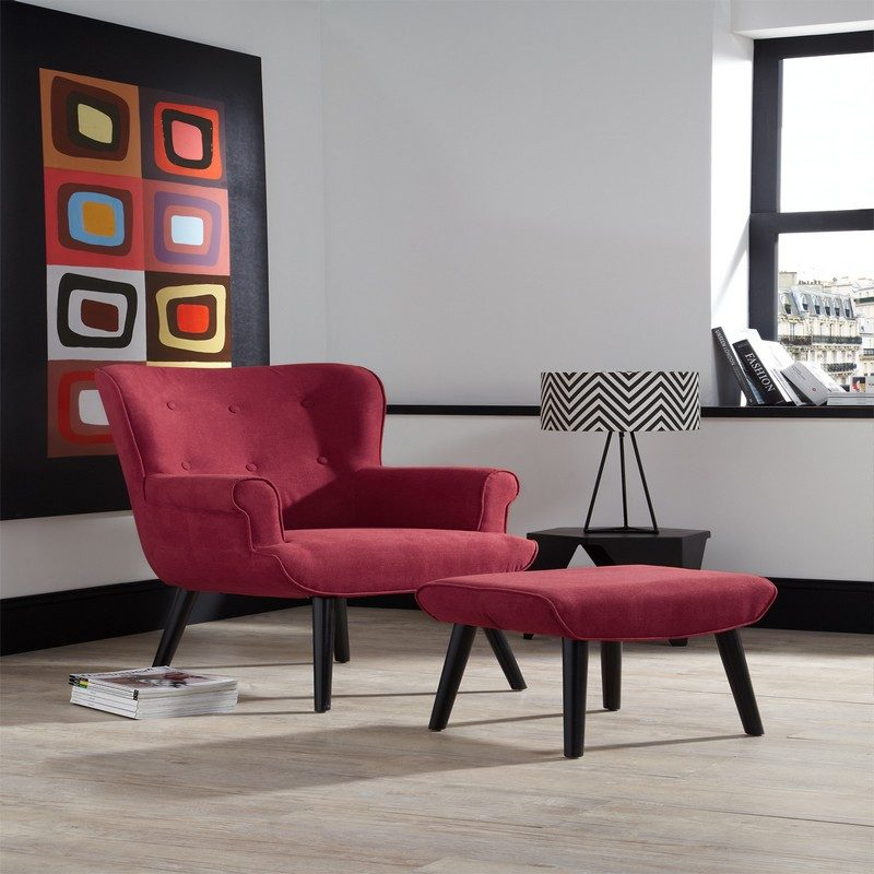 Oban Red Chair And Footstool   Occasional Chairs   Armchairs