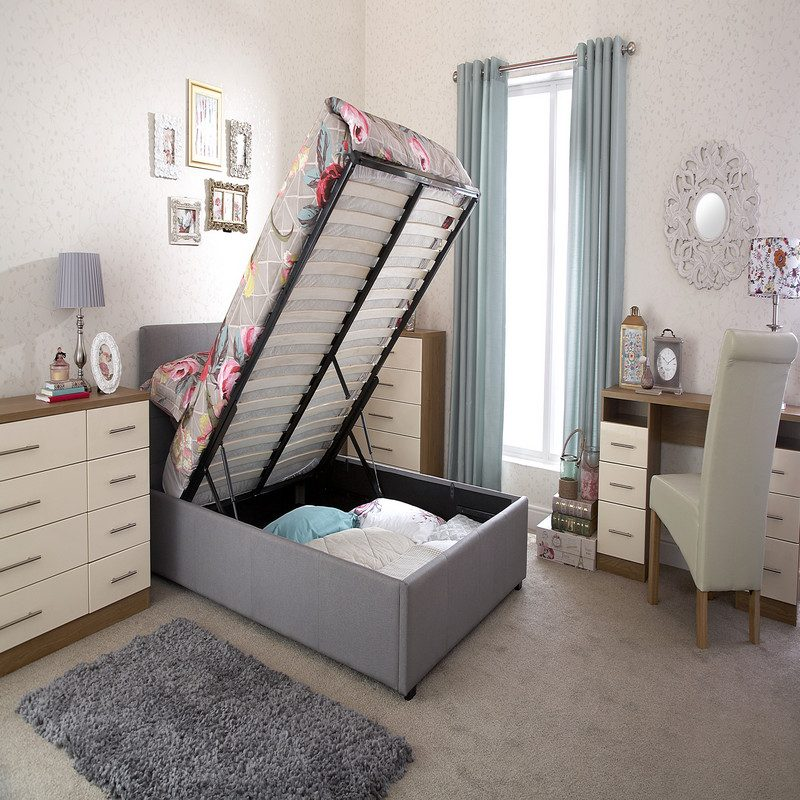 Regal Ottoman Bed Grey   Storage Beds   Beds with Storage
