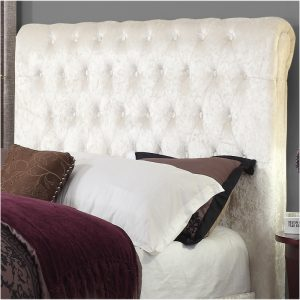Sareer Stella Crushed Velvet Bed frame White headboard