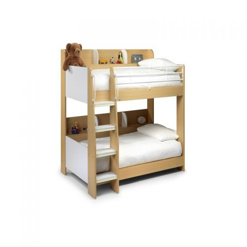 Domino White and Maple Bunk Bed From Julian Bowen | Kids Beds | Childrens Beds