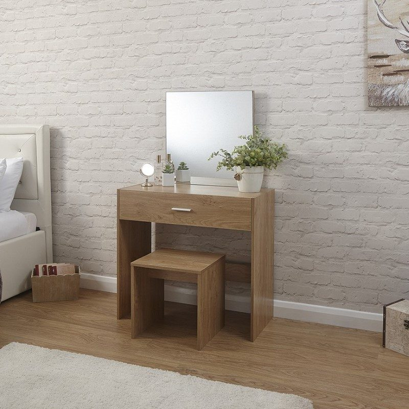 Julia Dressing Table & Stool Set Oak | Bedroom Furniture | Bishops Beds