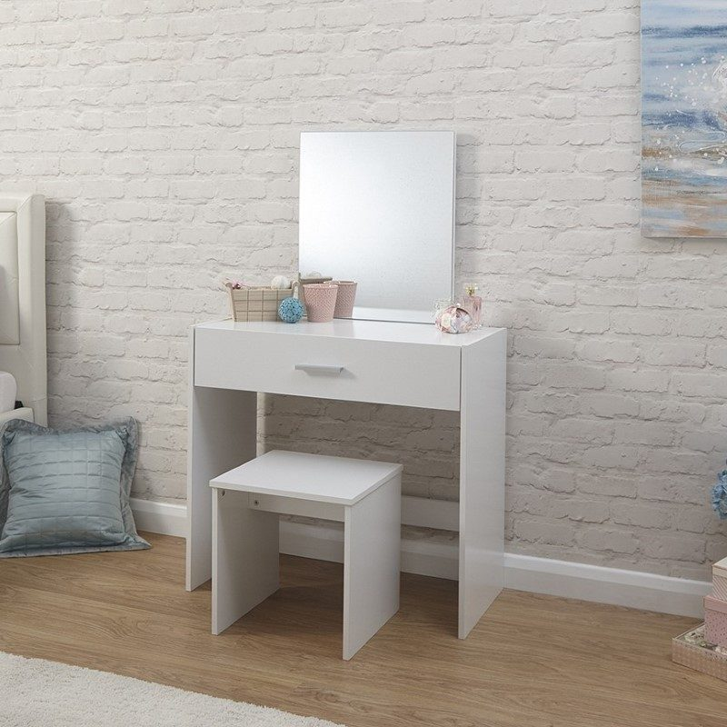 Julia Dressing Table & Stool Set White | Bedroom Furniture | Bishops Beds