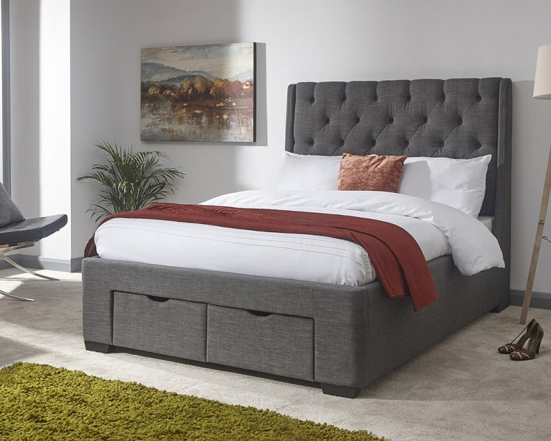 GFW Koln 2 Drawer Bedstead | Koln Grey Storage Bed | Beds with Free Delivery