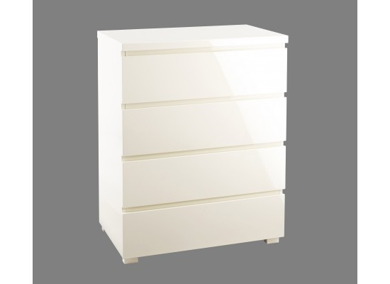 LPD Furniture Puro High Gloss Cream 4 Drawer Chest | Bedroom Furniture | Bishops Beds
