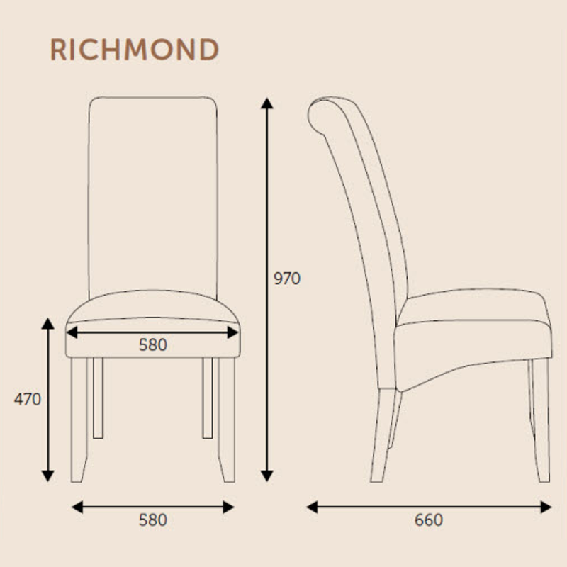 Richmond Chairs Technical Specification | Dining Chairs | Bishops Beds